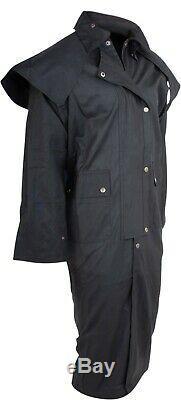 Premium Western Cowboy Oilskin Duster Outback Men Coat Drover 5xl 6xl