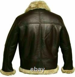 RAF Aviator Mens B3 Bomber Pilot Flying Fur Collar Real Sheepskin Leather Jacket