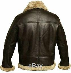RAF Aviator Real Leather Jacket for Men Bomber Brown Sheep Skin