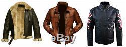 RAF Pilot Flying Aviator Shearling Bomber Brown Leather Jacket For Men