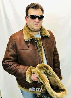 REAL 100% SHEEPSKIN SHEARLING LEATHER BOMBER B3 PILOT Coat Jacket S-8XL, WHISKEY