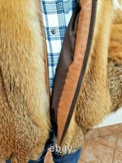 RED FOX FUR MEN'S HOODED JACKET Coat Size 2XL Real Genuine 100% Natural NEW