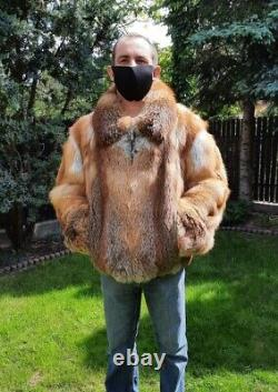 RED FOX FUR MEN'S JACKET Coat Size 2XL Real Genuine 100% Natural NEW