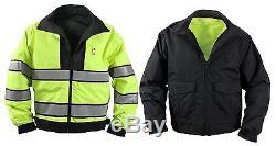 Reversible Hi-Visibility YellowithBlack Uniform Jacket Police, Security, Guard