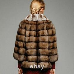 Sable Fur Coat Chinchilla Fur Collar Zibeline Sobol Barguzinsky Made in Europe