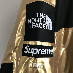 Supreme X The North Face Metallic Mountain Parka Jacket Gold Tnf 100% Authentic