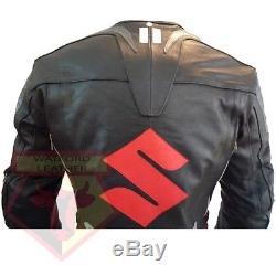 Suzuki 4269 Black Motorcycle Cowhide Leather Motorbike Ce Armoured Biker Jacket