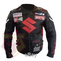 Suzuki 4269 Black Motorcycle Motorbike Bikers Cowhide Leather Ce Armoured Jacket