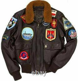 Tom Cruise Top Gun Peter Maverick Bomber Fur Collar Aviator Leather Jacket Men