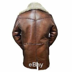 Tom Hardy Dark Knight Brown Bane Coat Leather jacket for Men Cafe Racer Trench