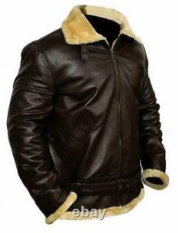 Tom Hardy Farrier Dunkirk Flight Bomber Aviator Men Leather Jacket Fur Shearling