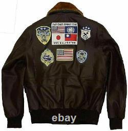 Top Gun Tom Cruise Peter Maverick Aviator Bomber Fur Brown Leather Jacket Mens