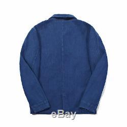 Vintage 60s French Blue Worker Chore Jackets Men's Indigo Coat Jacket Outwear