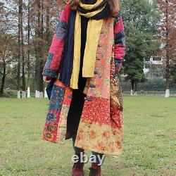 Vintage Women Qipao Chinese Traditional Button Floral Long Quilted Coats Jackets