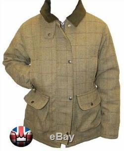 WWK Ladies Tweed Fitted Waterproof Jacket Green Wool Women Outdoor Clothing NEW