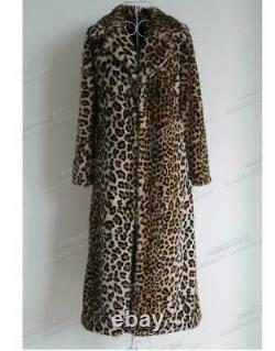 Women Faux Fur Leopard Coat Winter Warm Furry Long Jacket Outwear Lapel Parka