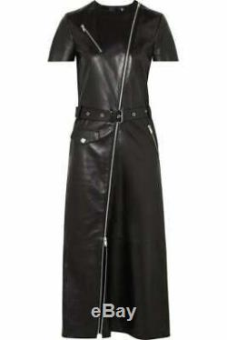 Women Genuine Leather Jacket Dress Black Full Zipper With Back Slit & Belt