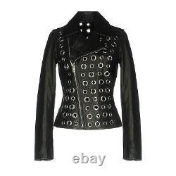 Women Leather jacket Eyelet winter leather jacket biker women black jacket