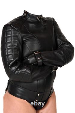 Women Real Leather Straight Jacket Women Quilted Padded Straight Jacket Belted