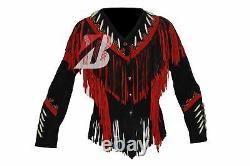 Women Western Suede Leather Jacket with Fringe, Bone & Studs NATIVE AMERICAN COAT