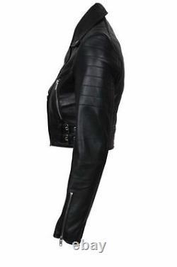 Women's Black Jacket Cropped Leather Chic Biker Gothic Short Jacket