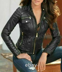 Women's Leather Black Genuine Lambskin Real Biker Motorcycle Slim Fit Jacket