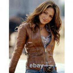 Womens Biker Motorcycle Vintage Distressed Brown Real Leather Jacket