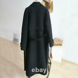 Womens Black Cashmere Overcoat Warm Thick Jackets Belt Long Trench Wool Coat Hot