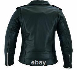 Womens Leather Brando Biker Jacket Ladies Motorbike Motorcycle with CE Armour