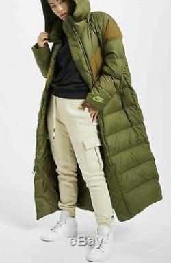 Womens Nike Down Fill Long Parka Coat Size M/l (ah8694 395) Olive Canvas Jacket