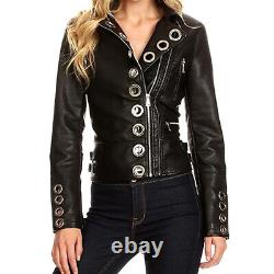 Womens Real Black Leather Studded Eyelet Moto Biker Jacket Leather Eyelet jacket