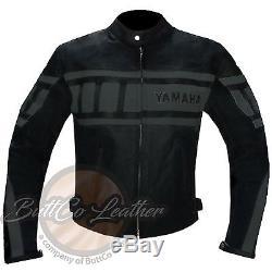 YAMAHA 0120 Motorbike Motorcycle Biker Racing REAL Grey Leather Jacket COAT