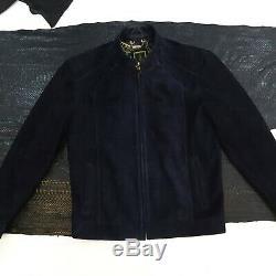 Zilli Metis Suede Genuine Leather Men's Luxury Navy Blue Handmade Bespoke Jacket