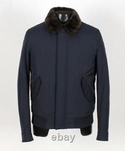 8 500 $ T.n.-o. Loro Piana Central Park Castorino Beaver Fur Lined Bomber Blue S