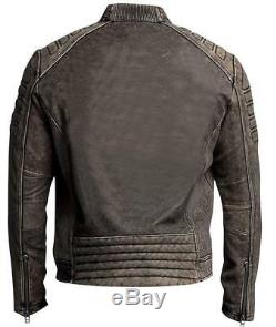 Affliction Iron Head New Mens Veste De Moto Vintage Distress En Cuir Véritable
