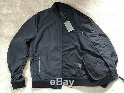 All Saints Noir Flotte Zip Logo Bomber Jacket Coat Petit Nouveau & Mots