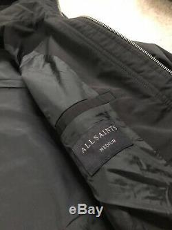 All Saints Noir Tanaka Manteau À Capuchon Zip Jacket Pardessus Medium New & Tags