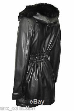 Ange Dames Trench Noir À Capuchon De Fourrure Longueur Moyenne Designer Manteau Veste En Cuir