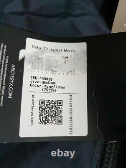 Arcteryx Beta Sv Jacket Moyen Kingfisher Gore-tex Pro Nouveau Rrp £600