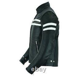 Arn Genuine Leather Motorcycle Jacket Black Biker With Ce Armour Noir