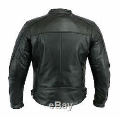 Biker Hommes Veste De Moto En Cuir Noir Uk Tailles Classic Motorcycles Ce Armor