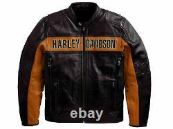 Bill Goldberg Davidson Black Motorcycle Jacket 100% Real Leather Biker Moto Gear