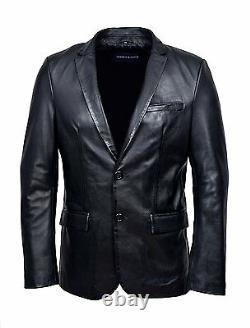 Blazer Blazer Noir Z120 Sur Mesure Veste En Cuir Véritable Napa Sur Mesure