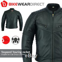 Blouson De Moto En Cuir Motard Noir Pour Cyclotouriste Ce En Armure Texpeed