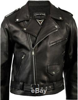 Blouson Moto En Cuir Brando Noir Biker Skintan
