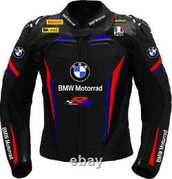 Bmw En Cuir Moto Moto Course Vélo Sports Cowhide Hommes Veste