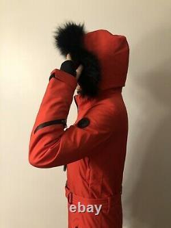 Bogner Rouge Femmes Ski Snowboard Veste Taille Xs -s, Mince, Garniture De Fourrure