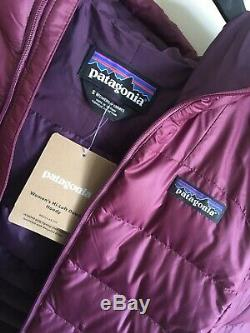 Brand New Femmes Patagonia Salut Gonflante Pull À Capuche Doudoune Bourgogne