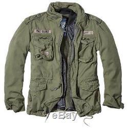 Brandit Géant M-65 Veste Hommes Champ Manteau Chaud Armée Militaire Avec Doublure Verte