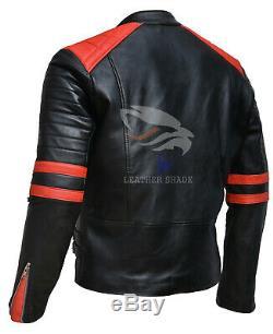 Brando Biker Veste En Cuir Véritable Noir Et Rouge Moto Xs S M L XL